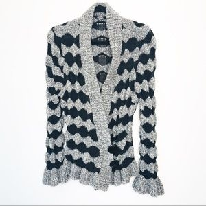 Bubble Knit Black and Gray Bell Cuff Cardigan